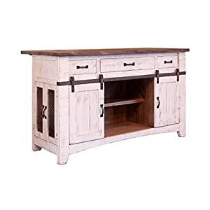 Crafters and Weavers Greenview 3 Drawer Kitchen Island w/2 Sliding Doors & 2 Mesh Doors/Kitchen Counter