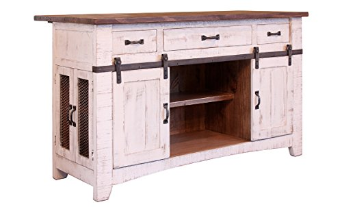 Kitchen Cart Antique Oak Base (Crafters and Weavers Greenview 3 Drawer Kitchen Island w/2 sliding doors & 2 Mesh doors / Kitchen Counter)