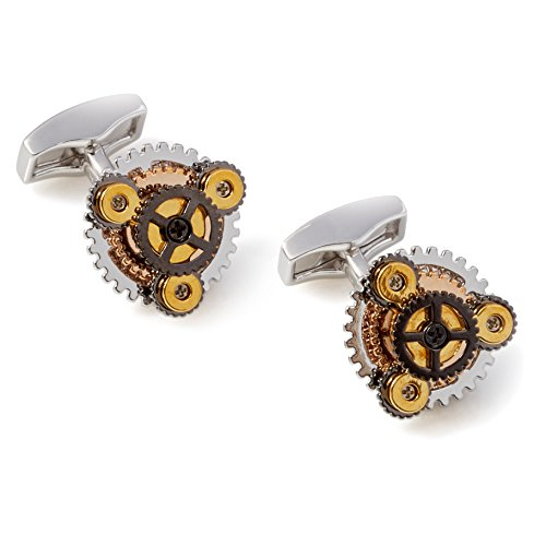 Tateossian Silver Rotondo Gear Cufflinks by Tateossian