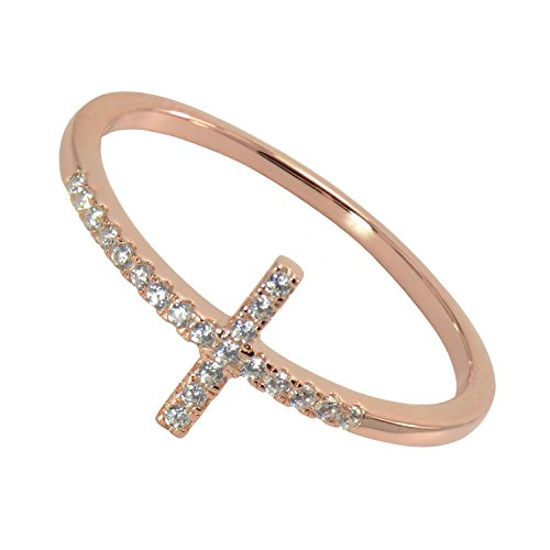 PaialcoRose Gold Plated Sterling Silver Sideways Cross Cubic Zirconia Ring, Size 7 (Smith Ring 14k)
