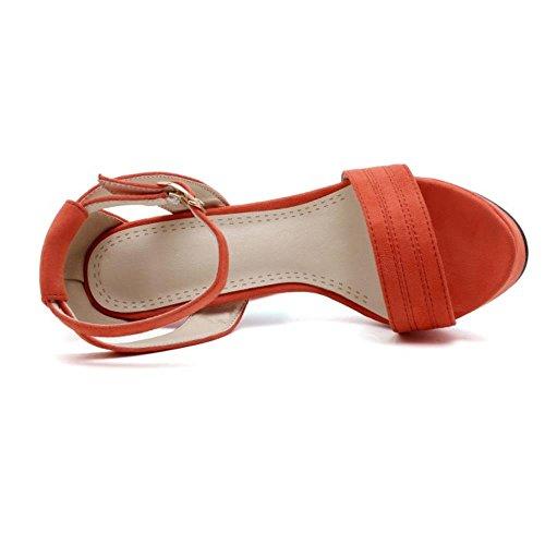 COOLCEPT Zapatos Mujer Moda Tacon Ancho Tacon Alto Al Tobillo Punta Abierta Sandalias Plataforma Orange