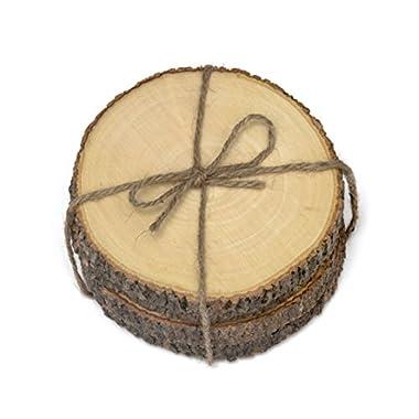 Lipper International Acacia Tree Bark Coasters with Hemp Tie (Set of 4), Brown