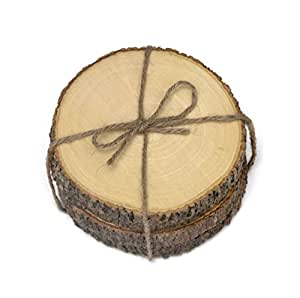 Lipper International 1034 Acacia Tree Bark Coasters with Hemp Tie (Set of 4), Brown