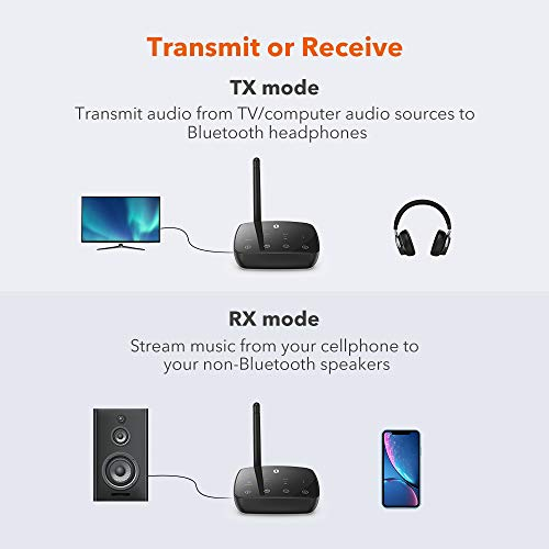 TaoTronics Long Range Bluetooth 5.0 Transmitter Receiver for TV, Wireless Audio Adapter for Home Stereos, aptX Low Latency, aptX HD, Optical Digital, Aux & RCA, Pairs Two Headphones by TaoTronics (Image #1)