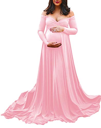 Saslax Maternity Off Shoulders Long Sleeve Half Circle Gown for Baby Shower Photo Props Dress Pink L (Dresses Guess Baby For)