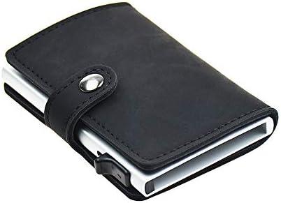 Dlife Credit Card Holder RFID Blocking Wallet Slim Wallet PU Leather Vintage Aluminum Business Card Holder Automatic Side Slide Trigger Card Case Wallet Security Travel Wallet (Black)