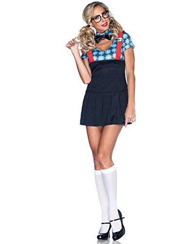 Leg Avenue Women's 4 Piece Naughty Nerd Costume, Blue, (Nerds Halloween Costumes Girl)