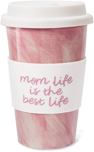 Mom Life 85208 Mom Life is the Best Life Pink 10 oz Ceramic Travel Coffee Mug with Silicone Lid, Pink