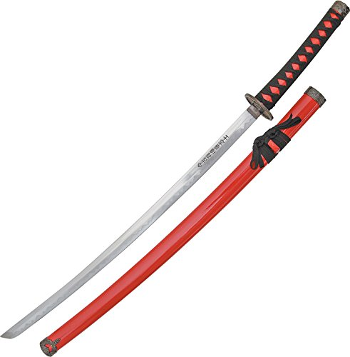 BladesUSA SW-68R Samurai Sword with Black/Red Cord-Wrapped ...