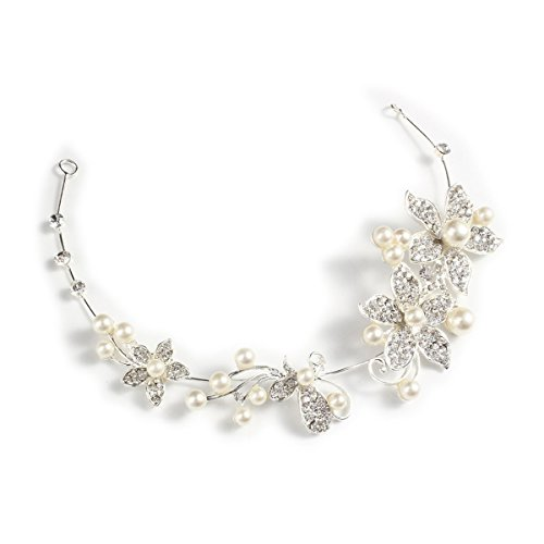 Price comparison product image Tinksky Women's Wedding Bridal Crystal Rhinestones Pearls Decor Hair Band Headband Tiara Headdress