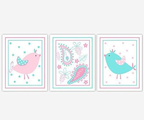 Baby Girl Nursery Wall Art Pink Aqua Blue Birds Paisley Design Girl Bedroom Baby Nursery Decor SET OF 3 UNFRAMED PRINTS