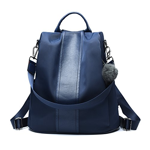 (Women Backpack Purse Waterproof Nylon Anti-theft Rucksack Lightweight Shoulder Bag (Blue))