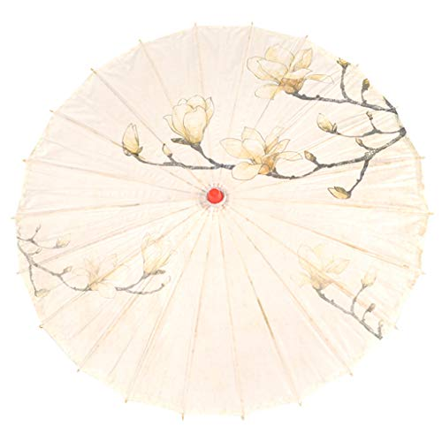 FILOL Classical Chinese Style Rainproof Umbrella, Oil Paper Oriental Parasol with Tassel Pendent Floral Mulitcolor Paper and Bamboo Painted Paper Parasol (H)