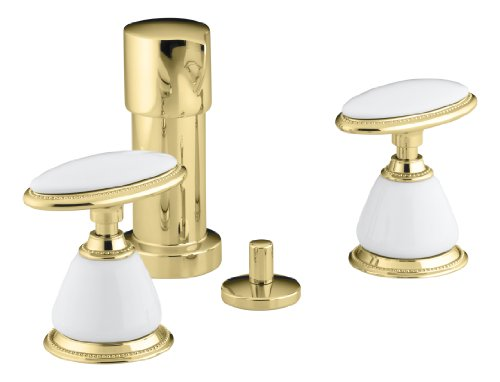 Kohler 142-9B-PB vertical spray bidet faucet, requires ceramic handle insets and skirts