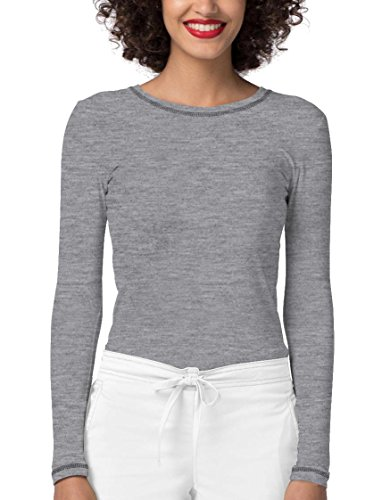 Crew Spandex Uniform - Adar Womens Comfort Long Sleeve Fitted T-Shirt Underscrub Tee- 3400 - Dark Marl Gray - XL