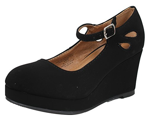 SODA Girl's Closed Toe Mary Jane Platform Wedge Sandal (Black, 4 M US Big -