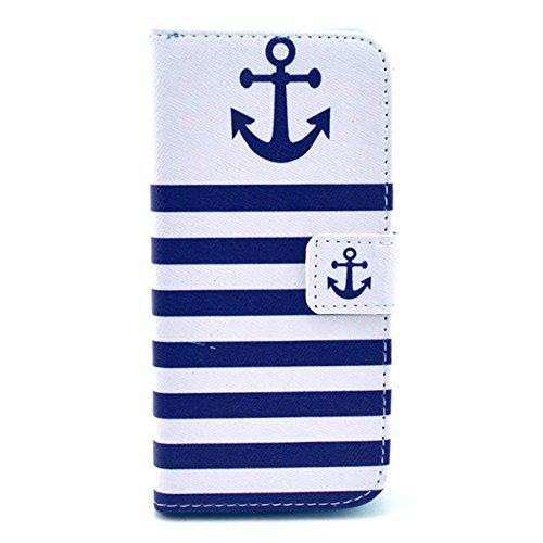Blaue weiße Streifen Marine-Anker Design Flip Case Wallet Ledertasche Schutzhülle für Apple iPhone 6 Plus (5.5 Zoll) Hülle Tasche Leder Handytasche Handyhülle Etui Schale mit Standfunktion Kredit Kart