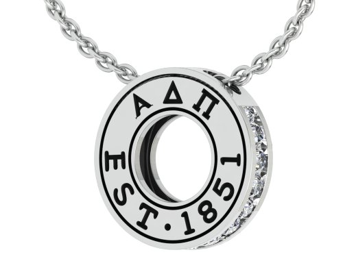 (Alpha Delta Pi Eternity Silver Charm Necklace with a 18