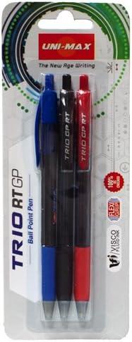 Plus Office Unimax Trio RT GP - Pack de 3 bolígrafos, color negro ...