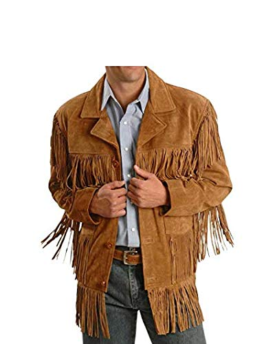 Men Western Fringe Jackets Men Brown Fringe Jacket Men Cow BOY Suede Jacket (2XL)