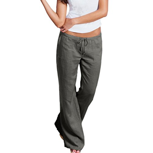 Long Wide Leg Pants, Kimloog Plus Size Women Summer Casual Loose Drawstring Flared Wide Leg Trousers (L, Gray)