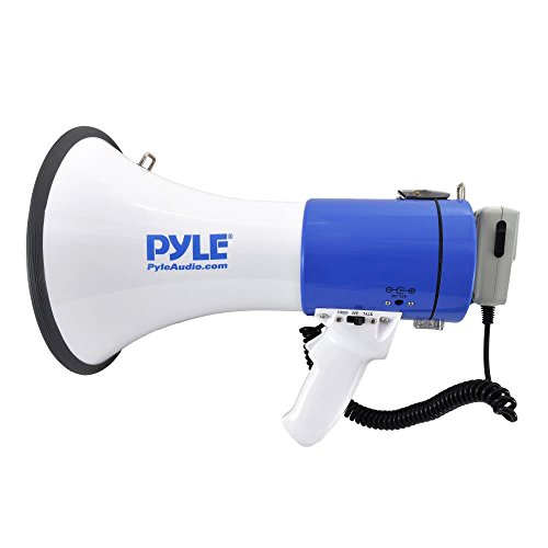 Pyle Megaphone Speaker    Bullhorn PA Speaker System   Wired Microphone   Siren Alarm Mode   Adjustable Volume Control (PMP50)