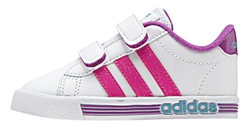 adidas Daily Team Inf, Zapatos de Primeros Pasos Unisex Bebé Blanco / Rosa / Verde (Ftwbla / Rosimp / Verimp)