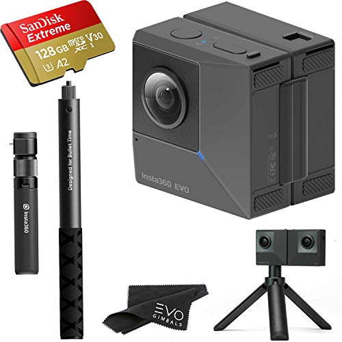 Insta360 EVO 3D 360 Hybrid VR Camera with 5.7K Video and 18MP Photos - Bundle Includes Bullet Time Kit and 128GB Sandisk Extreme microSDXC (3 Items) - Works with Oculus, Samsung Gear VR & Vive Focus