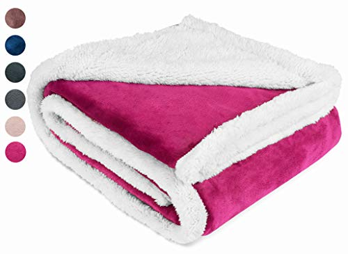Sherpa/Plush Throw Blanket for Couch Sofa 50x60 inches, Mink Fleece Throw Reversible for All Season Use, Super Soft Comfy TV Blanket for Adults Men Women Kids Wine