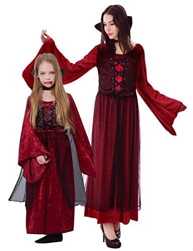 Vampire Girl Outfits (Halloween Girls' Vampire Princess Costume Dress, 2Pcs (dress, stand up collar))