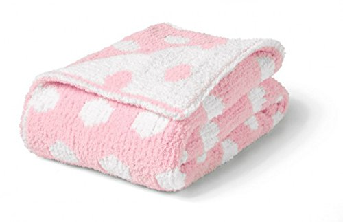 Monogrammed Personalized Colorado Clothing - Chunky Chenille Polka Dot Baby Blanket (Kiss Pink/White) (Baby Colorado Blanket Chenille)