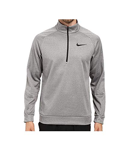 (Nike Mens Quarter Zip Long Sleeve Therma Shirt Carbon Heather/Black AQ5253-091 Size Large)
