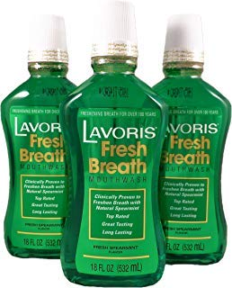 Lavoris Mouthwash LARGER SIZE Spearmint Flavor - 3 Pack of 18 oz Bottles (54 oz. total) ()