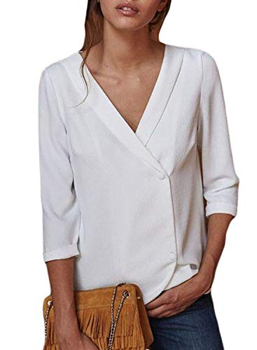 Azokoe Womens 2018 Top Plus Size Fashion 3/4 Sleeve Button Down Tunic Loose Silk Blouse Solid Tops Chiffon Henley Shirts White ()