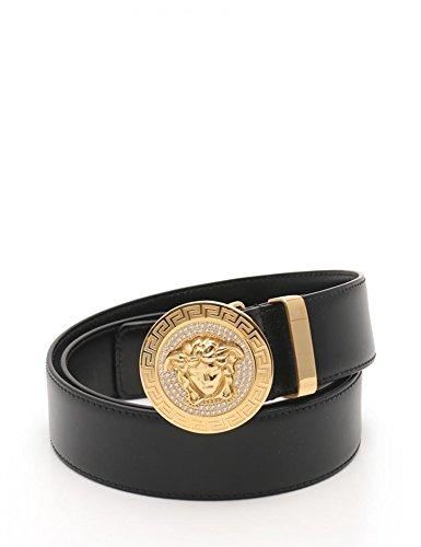 [ヴェルサーチ]Versace メデューサ メンズ ベルト DCU 4954 レザー ラインストーン 黒 金色金具 アパレル 小物 中古 B07FKHSNVP  -