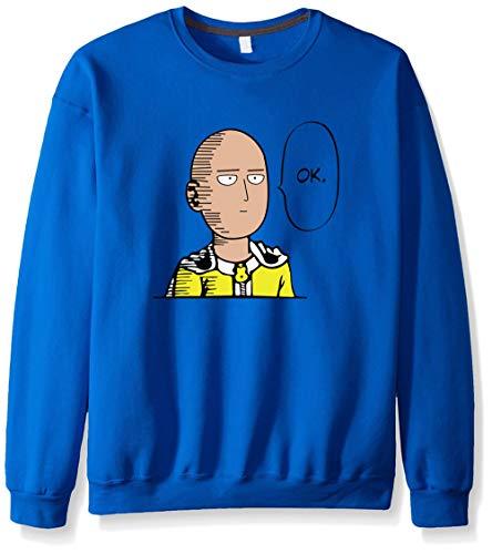One Punch Man Crewneck Sweatshirt Fleece Hoodie Pullover Cosplay Unisex Anime Expo(Blue,M)