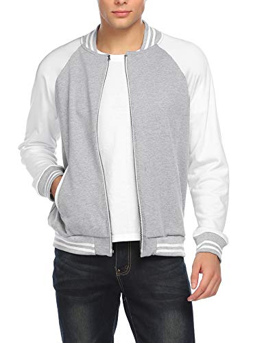 COOFANDY Mens Slim Fit Varsity Baseball Jacket Bomber Cotton Premium Jackets Gray-02 X-Large