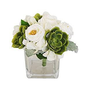 MEDA BLOOMS Faux Succulents and Ranunculus Arrangement in Glass Vase,Home Office Wedding Table Centerpiece Decorations 11