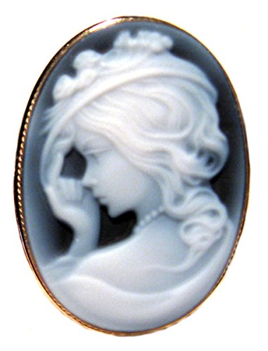 Cameo Brooch Pendant Italian Sterling Silver 18k Yellow Gold Overlay Frame Lady with Hat Agate Stone
