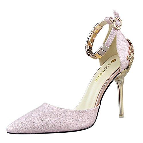 Sandalo Pompa Confortevoli Cinturino Alto Vestito Donne Delle Rosa Tacco Caviglia Tirahse Scarpe Alla pw6nSHqpR
