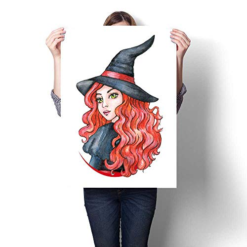 Anshesix Wall Art Canvas Prints Beautiful Young Girl - Witch Halloween Costume Watercolor Illustration Print Paintings for Home Wall Office Decor 20