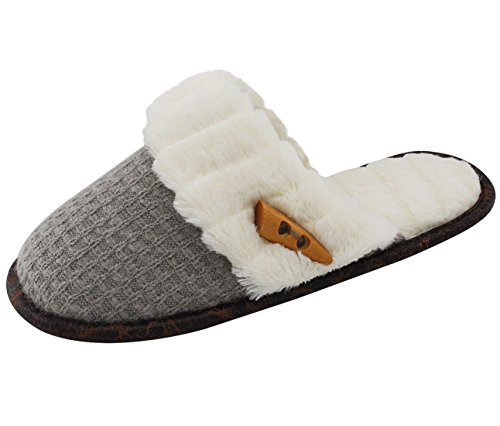 Vonmay Women's Elegant Knitted Cozy Plush Fleece Lined Slip On Indoor House Slippers (7-8 B(M) US, Gray)