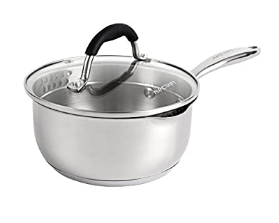 AVACRAFT Stainless Steel Saucepan with Glass Lid, Strainer Lid, Two Side Spouts for Easy Pour with Ergonomic Handle, Multipurpose Sauce Pan with Lid, Sauce Pot