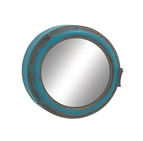 """Deco 79 95210 Round Wood Metal Wall Mirror, 24"""", Blue - 24Nautical rustic iron and wood-style MDF round porthole wall mirror Suitable to be use as decorative items This product is manufactured in China - bathroom-mirrors, bathroom-accessories, bathroom - 41BAMtw80 L -"""