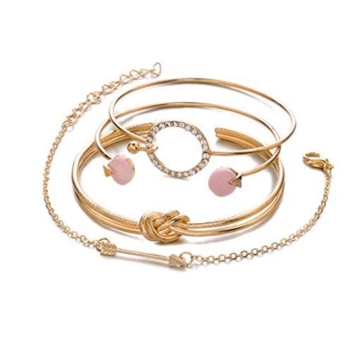 Myhouse Women Girls Bracelets Bohemian Circle Knot Round Bangles Opening Bracelet Set, Gold Color