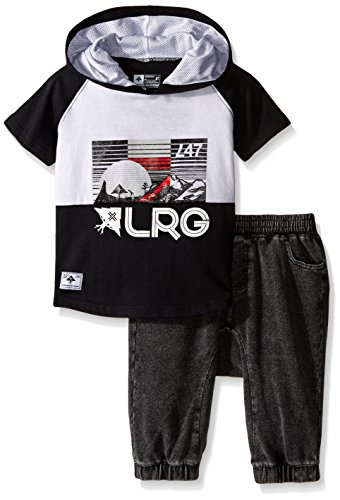 LRG Toddler Little Boys' Toddler Hooded Lifted Short Set, Black, 3T