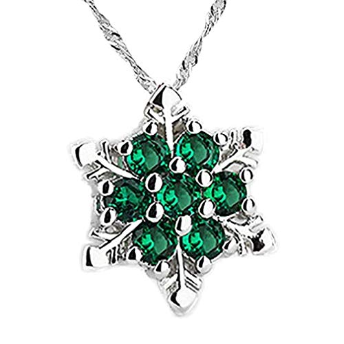 Noopvan Deals Classic Women Snowflake Crystal Rhinestone Silver Chain Pendant Necklace Jewelry Romantic Gift (Green)