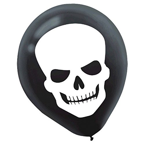 Amscan Creepy Halloween Party Skull Balloon Decoration (Pack of 15), Multicolor, 12