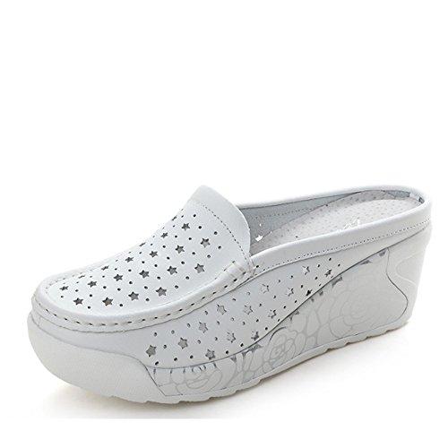 huecos femeninos gruesos Baotou zapatos de Zapatillas del A Cómodo del manera verano los de deslizadores los del ocasionales la verano desgaste Inclin Zapatillas inferiores auténticas de de manera de la TvawYq