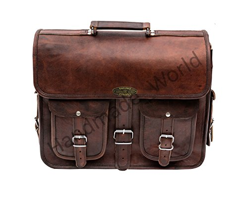 Handmade_world Leather Messenger Bag Brown 18 Inch Air Cabin Briefcase Leather Cross Body Shoulder Large Laptop School Bag by Handmade_world (Image #8)